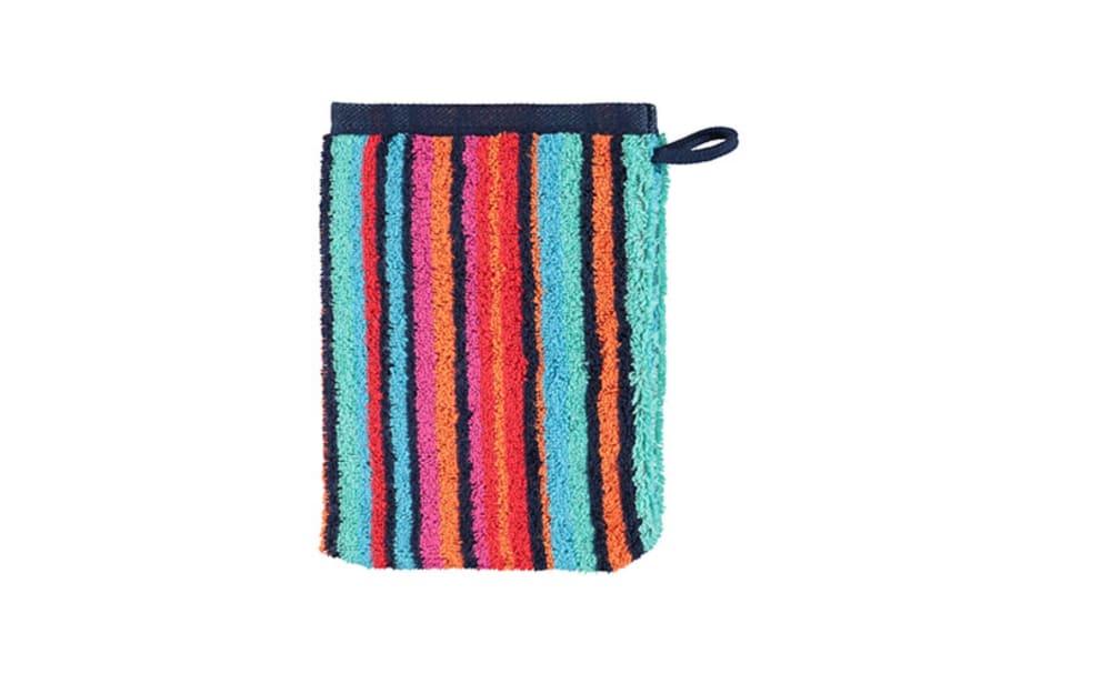 Cawö Waschhandschuh Art Streifen in multicolor blau, 16 x 22 cm