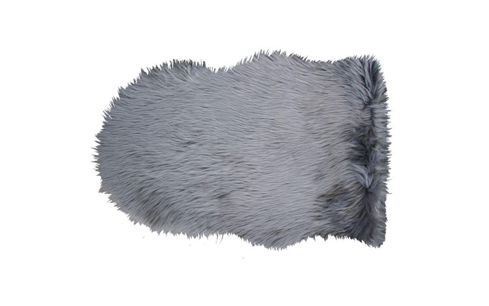 Schaffellteppich Lama in grau, 55 x 80 cm