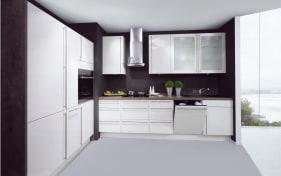 Einbauküche Lux in magnolia Hochglanz, Privileg-Geschirrspüler