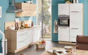 Marken-Einbauküche Riva in Weißbeton-Nachbildung