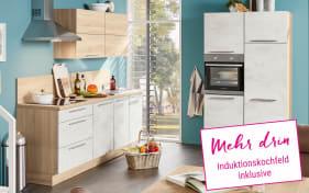 Marken-Einbauküche Riva in weiß, Neff Induktionskochfeld