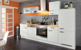 Einbauküche Laser in alpinweiß, Absetzungen orange