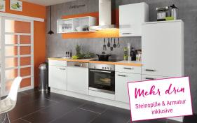 Einbauküche Laser in alpinweiß/orange