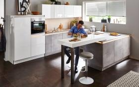 Einbauküche Lux in weiß Hochglanz, Bauknecht-Geschirrspüler