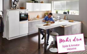 Einbauküche Lux in weiß Hochglanz, Siemens-Geschirrspüler