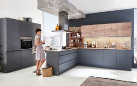 Einbauküche Sigma Lack in quarzgrau softmatt, Neff-Geschirrspüler