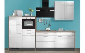 Marken-Einbauküche IP3050 in hellgrau Hochglanz, AEG-Geschirrspüler