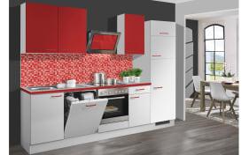 Einbauküche Pino 80 in weiß mit Absetzungen in chilirot
