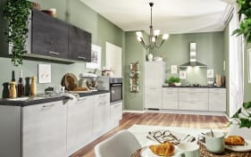 Einbauküche 700 PN100 665 beton weißgrau, Zanker Geschirrspüler KDT10003FB