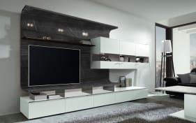 Wohnwand Felino in seidenmatt weiß / Marmor-Optik