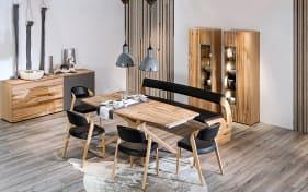 Stuhlgruppe V-Alpin in Leder schwarz/Eiche Altholz