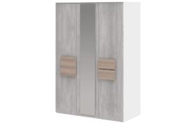 Drehtürenschrank Clip 313 in weiß/Beton-Optik