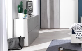 Kommode Concrete in Beton-Optik/alpinweiß