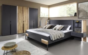 Schlafzimmer Valetta in graphit matt/Atlantic oak-Optik hell, mit Beleuchtung