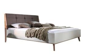 Bett Jütland in matt weiß/Jackson Hickory-Optik
