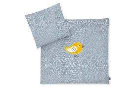 Bettwäsche mit Applikation in blau mit Muster Organic Happy Bird blau, 80 x 80 cm