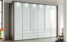 Kleiderschrank Loft in weiß,havanna Dekor