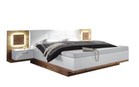 Bett mit Nachtkonsolen-Paneel Rimini in weiß/Wildeiche-Optik
