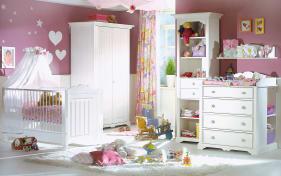 Babyzimmer Cinderella Premium in Kiefer weiß lackiert massiv