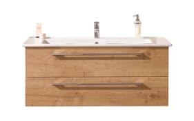 Set Keramikwaschtisch und Waschtischunterschrank b.brace in Eiche natur-Optik