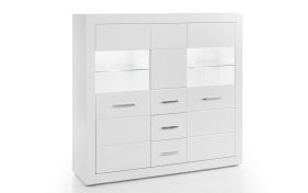 Highboard Bianco in weiß/ Hochglanz-Optik