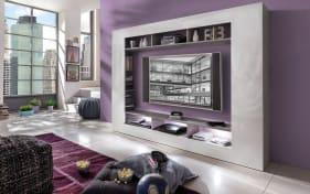 Wohnwand Speed in Beton-Optik/weiß Hochglanz