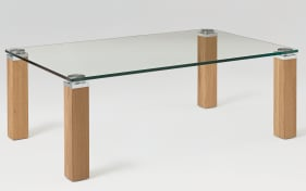 Couchtisch Lexa Kristallglas / Eiche massiv