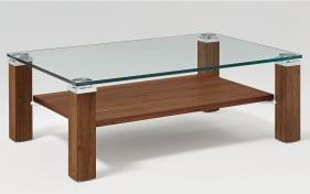 Couchtisch Lexa Kristallglas / Nussbaum massiv