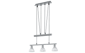 LED-Pendelleuchte Levisto in nickel matt, 3-flammig