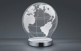 LED-Tischleuchte Globe in chromfarbig/weiß