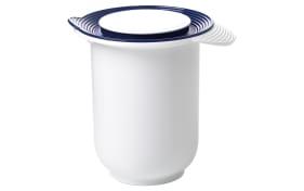 Quirltopf Superline in weiß/blau mit Deckel, 1,2 l