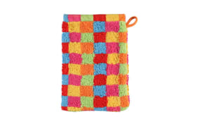 Waschhandschuh Lifestyle Karo in multicolor hell, 16 x 22 cm