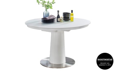 Säulentisch Artos 2 in matt weiß, mit ausziehbarer Glastischplatte