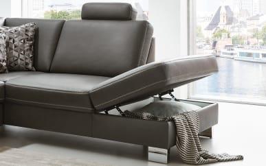 1,5-Sitzer Sion-L in Torro anthrazit inklusive aufklappbarem Anstellhocker