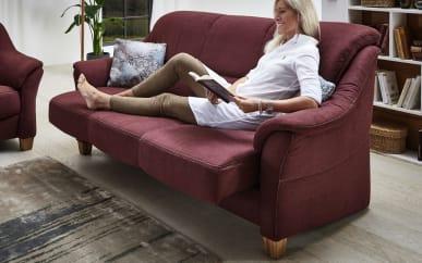 Sofa 3-sitzer Bristoll in bordeaux, mit Funtkionen