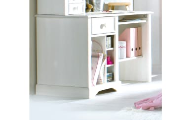 PC-Schreibtisch Cinderella Premium in Kiefer weiß lackiert massiv
