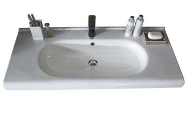Keramik-Waschtisch 3020 in weiß Glanz inklusive Befestigungsmaterial, ca. 96,5 cm Breit, ohne Armatur und Deko