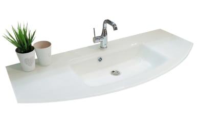 Glas-Waschtisch Cassca in Klarglas-weiß für Waschtischunterschrank Cassca