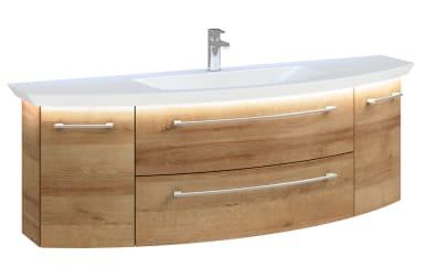 Waschtischunterschrank Cassca in Rivera Eiche-Optik, 2 Auszüge, 2 Türen