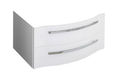 Waschtischunterschrank Fokus 4005 in polarweiß Hochglanz Lack mit 2 Auszügen