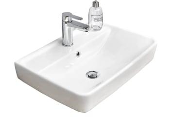 Keramik-Aufsatzwaschtisch Balu in weiß für Waschtischplatte Balu und Waschtischunterschrank Balu ohne Waschtischunterschrank und Waschtischplatte