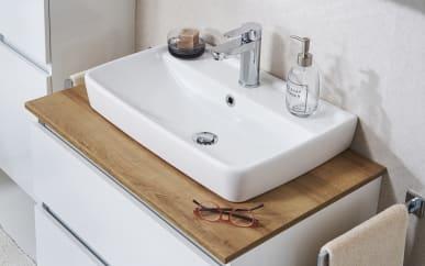 Waschtischplatte Balu in Rivera Eiche-Optik für Waschtischunterschrank Balu ohne Keramik-Aufsatzwaschtisch und Waschtischunterschrank