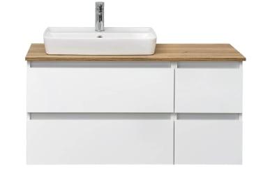 Waschtischunterschrank Balu in weiß Hochglanz/weiß Seidenglanz mit 4 Auszügen ohne Waschtisch und Waschtischplatte