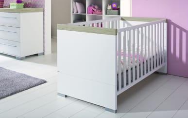 Kinderbett Kira in kreideweiß/Eiche-Nautik-Optik