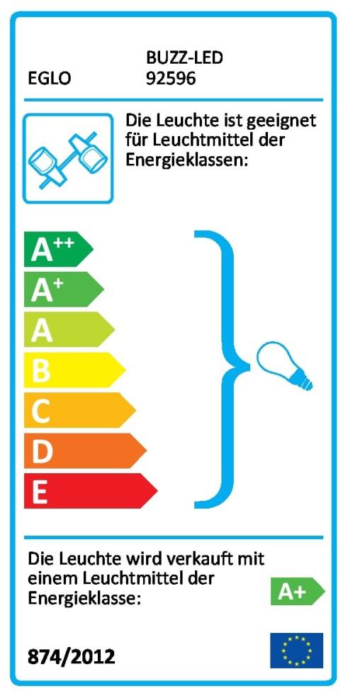 Energieeffizienz: LED-Deckenleuchte Buzz-LED in nickel matt, 2-flammig