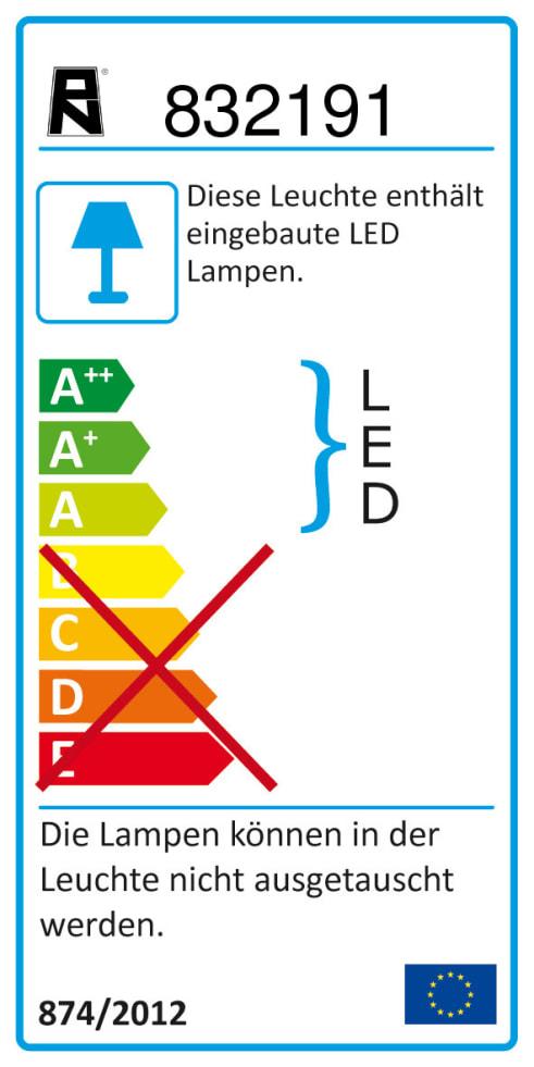 Energieeffizienz: LED-Deckenleuchte Inigo in stahlfarbig, 2-flammig