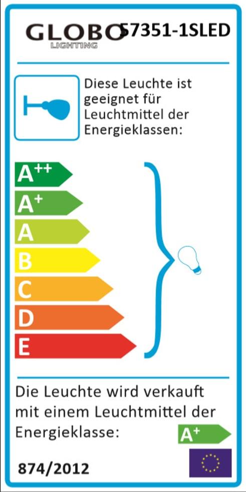 Energieeffizienz: LED-Wandleuchte 57351-1SLED in nickel matt, 1-flammig