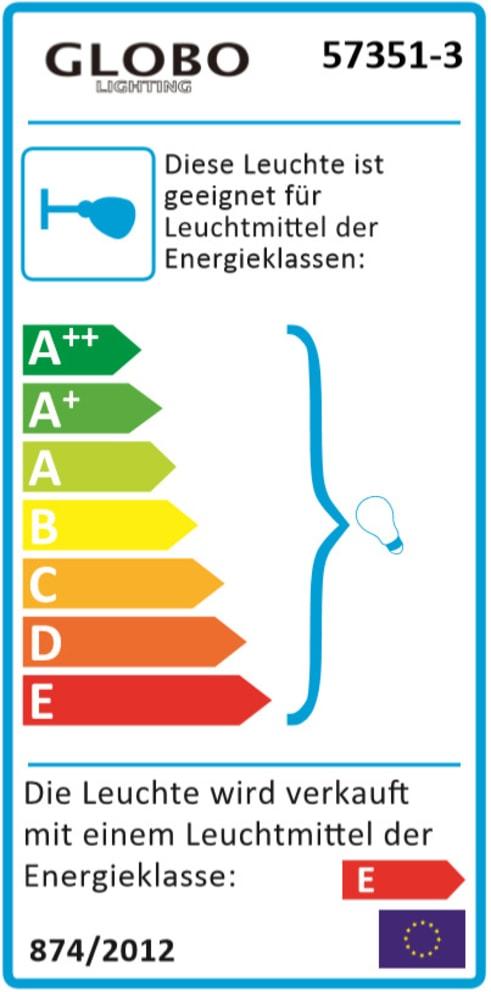 Energieeffizienz: LED-Deckenleuchte 57351-3LED in nickel matt, 3-flammig