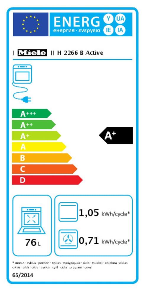 Energieeffizienz: Backofen H2266B 60 cm in schwarz/edelstahl