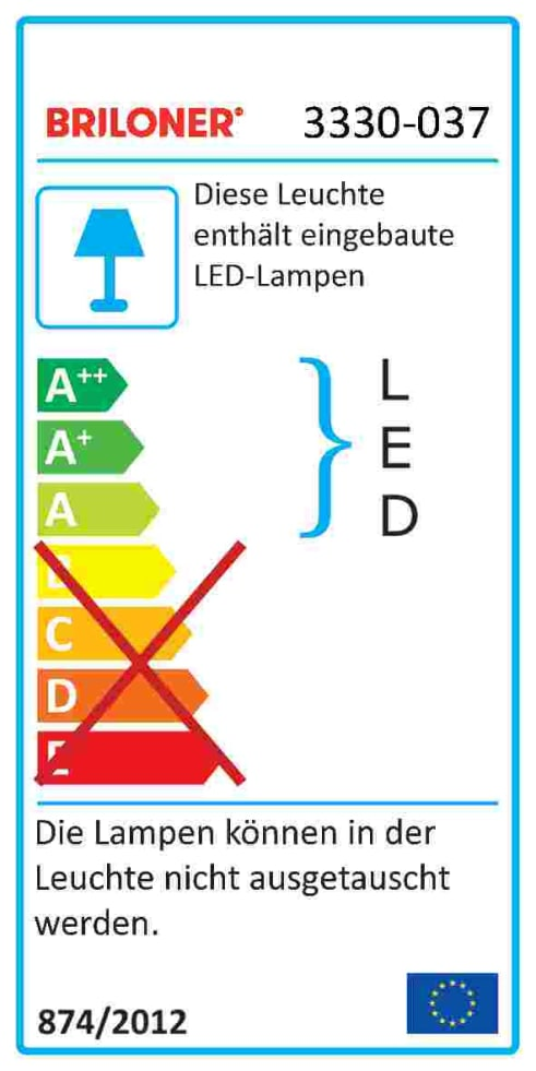 Energieeffizienz: LED-Deckenleuchte 3330-037 in goldfarbig, 3-flammig